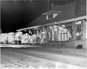 THIS PHOTO shows Freeport Station in 1950 with one day's shipments from L.L. Bean.