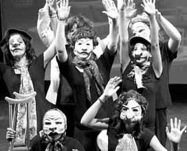 PARTICIPANTS in a 2011 Heartwood Theater summer camp session perform with masks, under the instruction of visiting guest artist Beverly Mann of Belfast.