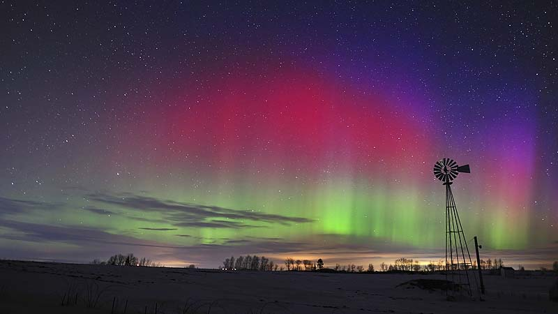 Paul Cyr shot this photo of the aurora borealis on Center Hill in Easton just on Jan. 25, 2012. Forecasters say the solar storm hitting Earth today could produce similar displays of the Northern Lights if Maine skies are clear tonight.