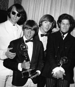 "THIS JUNE 4, 1967, file photo shows The Monkees posing with their Emmy award at the 19th annual Primetime Emmy Awards in California. The group members are, from left, Mike Nesmith, Davy Jones, Peter Tork and Micky Dolenz. Jones died Wednesday in Florida. He was 66. Jones rose to fame in 1965 when he joined The Monkees, a British popular rock group formed for a television show. Jones sang lead vocals on songs like ""I Wanna Be Free"" and ""Daydream Believer."""