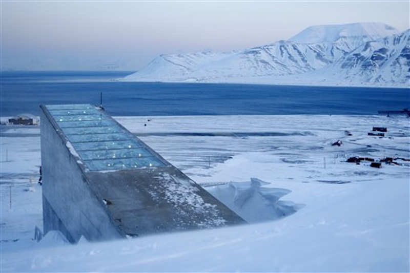This February 2008 file photo shows the Svalbard Global Seed Vault in Norway. Chick peas, fava beans and other seeds from a facility in strife-torn Syria are among the 25,000 new samples being deposited this week in an Arctic seed vault built to protect food crops from wars and natural disasters, officials said. (AP Photo/Hakon Mosvold Larsen/Scanpix Norway)