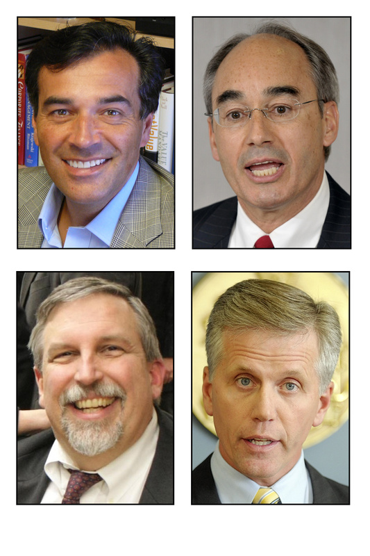 For big-name Maine Republicans entered the U.S. Senate race Friday. Clockwise from top left, they are: former Maine Senate President Rick Bennett; state Treasurer Bruce Poliquin; Secretary of State Charlie Summers; and Maine Attorney General Bill Schneider.
