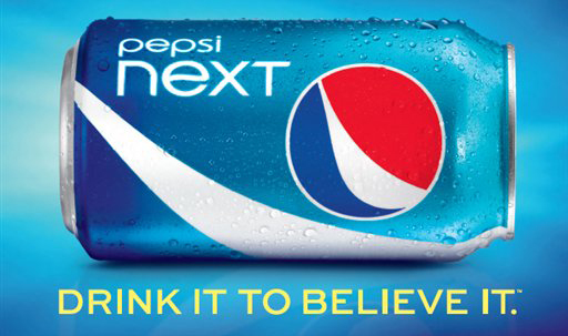 "A PepsiCo, advertisement for ""Pepsi Next,"" a mid-calorie drink that has about half the calories of regular Pepsi at 60 calories per can."