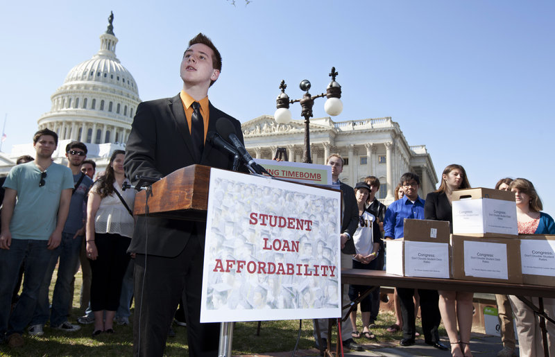 """On Capitol Hill on Tuesday, Northern Arizona University freshman Tyler Dowden, 18, says raising the interest rate on subsidized student loans will limit """"my ability to be successful."""""""