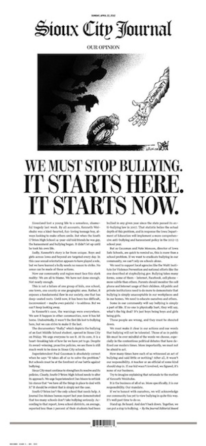 The Sioux City Journal devoted its entire front page to an anti-bullying editorial on Sunday, April 22, 2012.