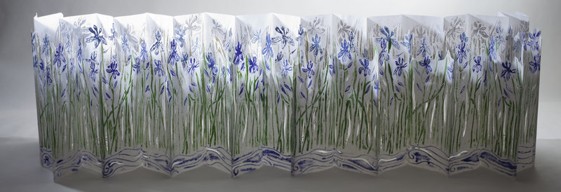 Goodale's folding book of blue flag irises is the centerpiece of her show.