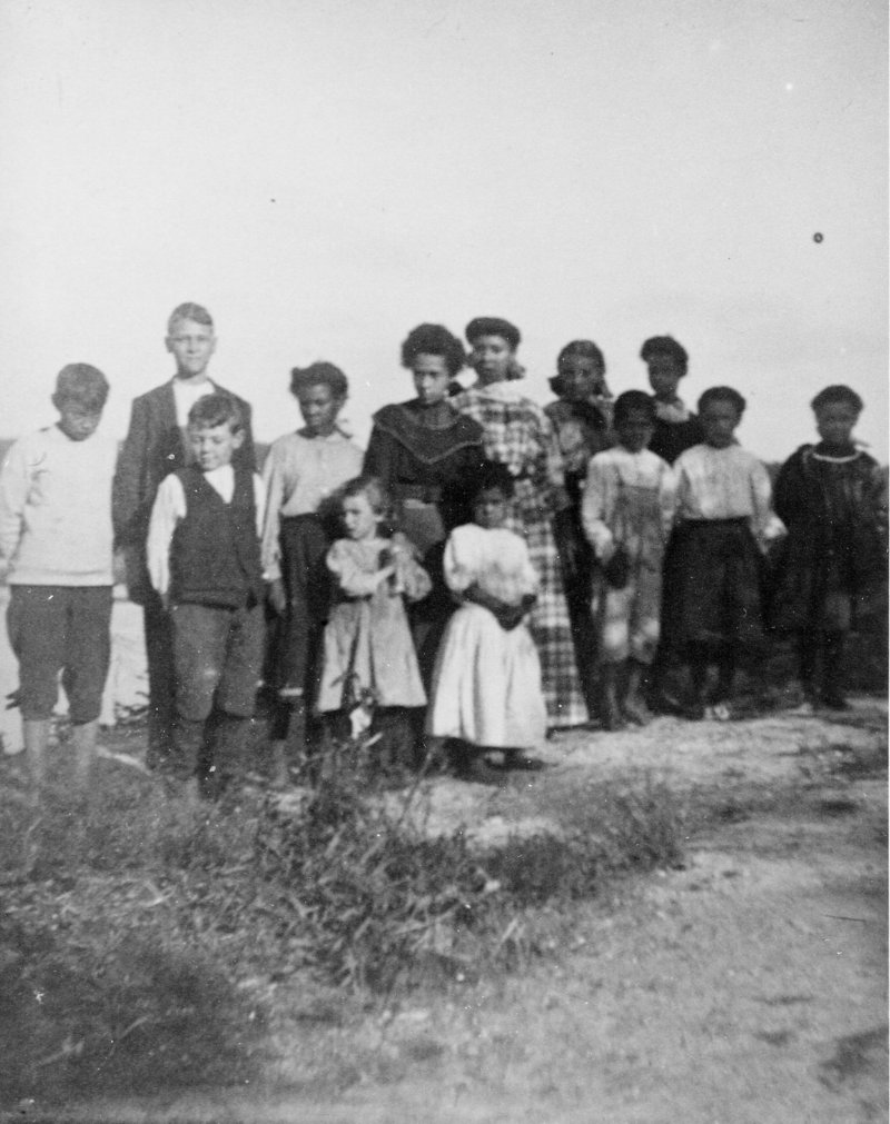 Students gather on Malaga Island in 1910.