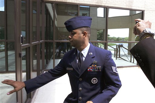U.S. Air Force Staff Sgt. Luis A. Walker arrives from a lunch break during his court martial at Lackland Air Force Base on Monday in San Antonio, Texas.