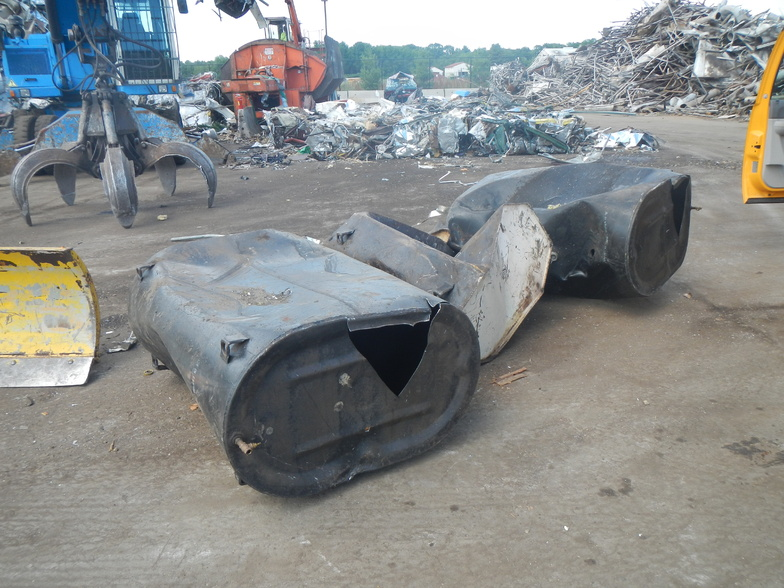 Investigators believe these three tanks, which were sold as scrap at Schnitzer Steel Industries Inc. on Riverside Street in Portland, previously contained old heating oil that was dumped illegally into two stormwater catch basins at Falmouth and St. John streets.