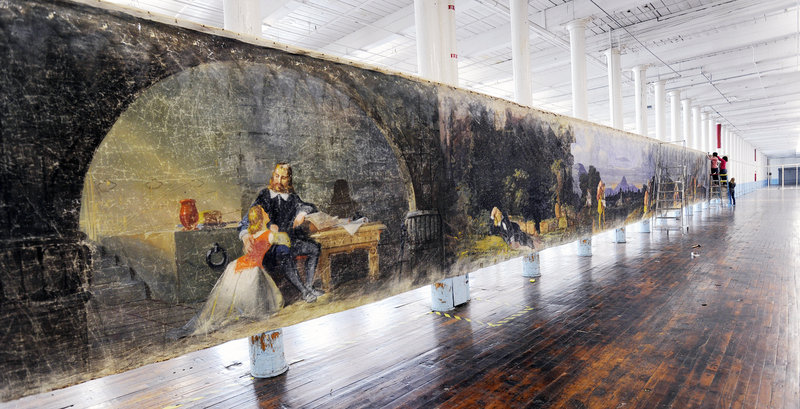 """The Saco Museum's """"Moving Panorama of Pilgrim's Progress,"""" part of which occupies a former Pepperell Mill building in Biddeford. Both these photos reflect a trend in Maine: The mill as an art space."""