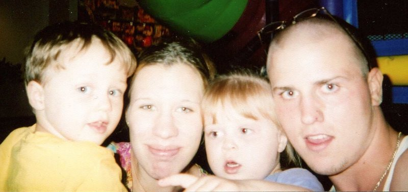 Fom left, Ryan Blanchard, now 9; Nicci Haycock, mother to two of his children; Taylor Velez, now 9; and Blanchard.