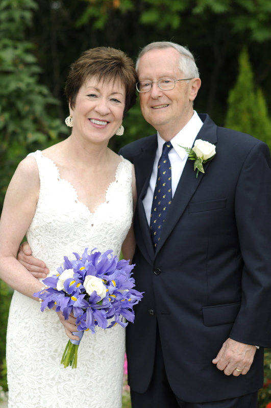 Sen. Susan Collins wore a floor-length white lace dress for her wedding to Thomas Daffron on Saturday in Caribou.