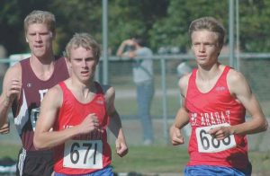 MT. ARARAT HIGH SCHOOL junior cross country runners Nate Mackenzie, left, and Sam Wood are the Eagles' top two runners this season. They lead their squad in a meet at Brunswick on Thursday.