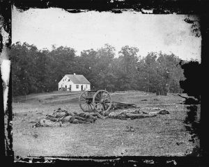 THIS 1862 photograph made available by the Library of Congress shows casualties from the Battle of Antietam near the church of the pacifist Dunker sect near Sharpsburg, Md. When dawn broke along Antietam Creek on Sept. 17, 1862, cannon volleys launched a Civil War battle that would leave 23,000 casualties on the single bloodiest day in U.S. history and mark a crucial pivot point in the war.