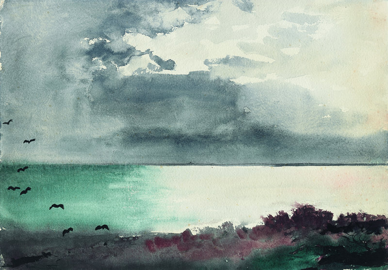"""""""Breaking Storm, Coast of Maine,"""" watercolor on wove paper, 1894."""
