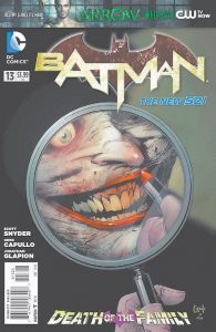 """THIS COMIC BOOK cover image released by DC Entertainment shows the Joker on the cover of """"Batman"""" No. 13, released this week. The story, """"Death of the Family,"""" will cross numerous issues from now through February."""