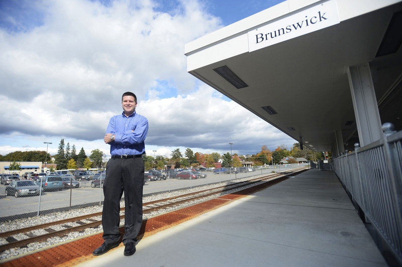 This photo shows Brandon Hussey, director of sales and marketing at the Inn at Brunswick Station in Freeport, at the Maine Street Station on Monday, Oct. 8, 2012. The Downeaster will begin making stops in Brunswick in November.