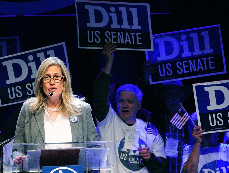"Cynthia Dill speaks during the Maine Democratic Convention in June. Dill won a four-way primary to become her party's nominee to vie for Sen. Olympia Snowe's seat in the U.S. Senate, but has lagged behind her rivals in polls. Political scientist Jim Melcher says Dill ""has a reputation for being tenacious, scrappy, willing to say what she is thinking and to let the chips fall where they may, even if they rub her own party the wrong way."""