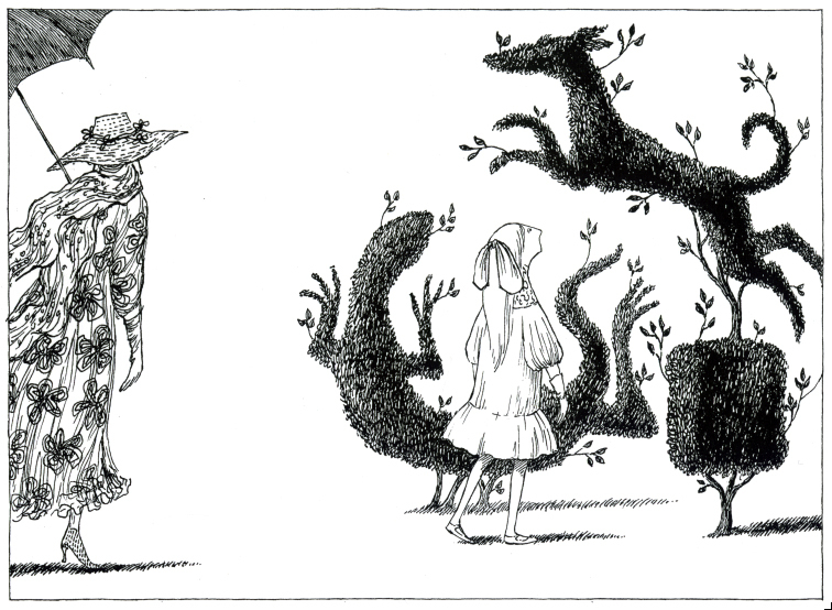 Gorey's whimsy is evident everywhere in the library show.