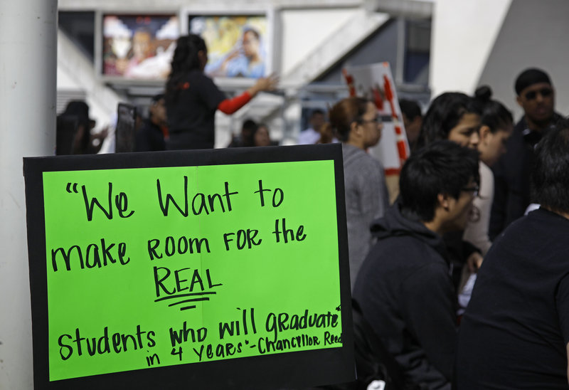Students rally this month at San Francisco State University against fee increases for students who continue taking courses beyond five years without graduating.