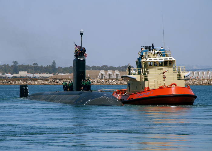 """In this 2009 photo, the USS Topeka departs Naval Base Point Loma in San Diego for a scheduled deployment to the western Pacific Ocean. Topeka was showcased in the movie, """"Transformers: Revenge of the Fallen."""""""