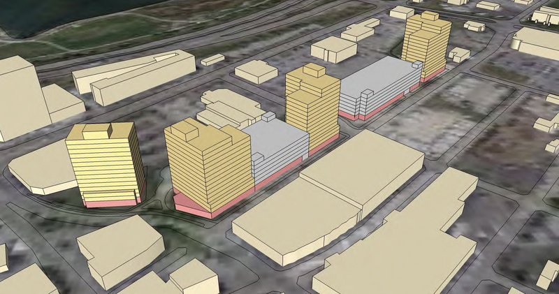Developers on Thursday submitted a new layout for midtown, a mixed-use development in Bayside formerly known as Maritime Landing. The new design seeks to improve views of the Portland skyline from Interstate 295 and the Back Cove.