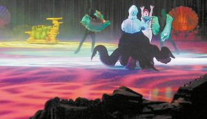 "URSULA THE SEA witch captures the voice of Ariel the mermaid during a January 2009 performance of Disney on Ice at the Cumberland County Civic Center. Ariel and her ""The Littler Mermaid"" friends will return this month, along with characters from other Disney films, ""Cars,"" ""Toy Story 3"" and ""Tinkerbell."""