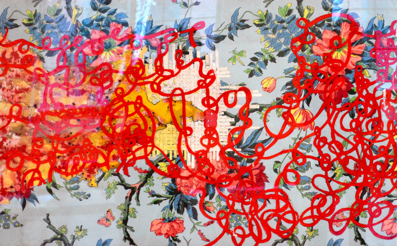 """""""In this room,"""" 2011, silk and thread on paper."""