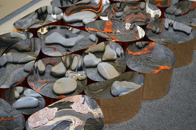 """Detail of Kate Cheney Chappell's """"Go Inside the Stone III""""."""