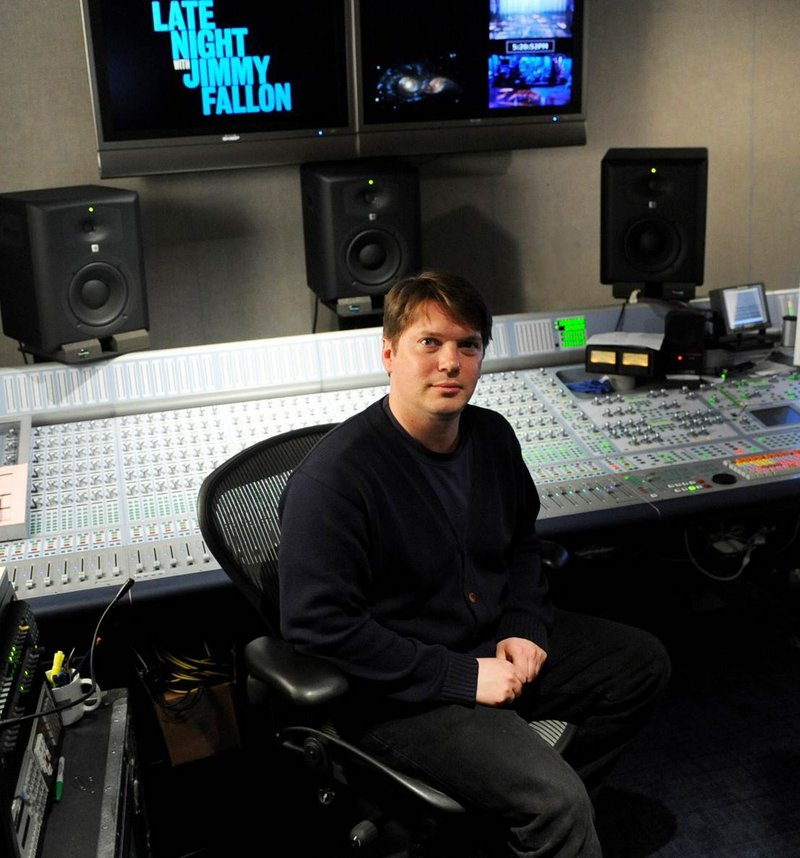 "Manchester in the control room at NBC, where he mixes the music for ""Late Night with Jimmy Fallon."""