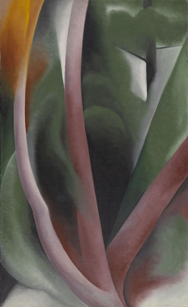 """Among the hundreds of pieces in the Lunder collection, """"Birch and Pine Trees – Pink,"""" 1925 oil on canvas by Georgia O'Keeffe."""