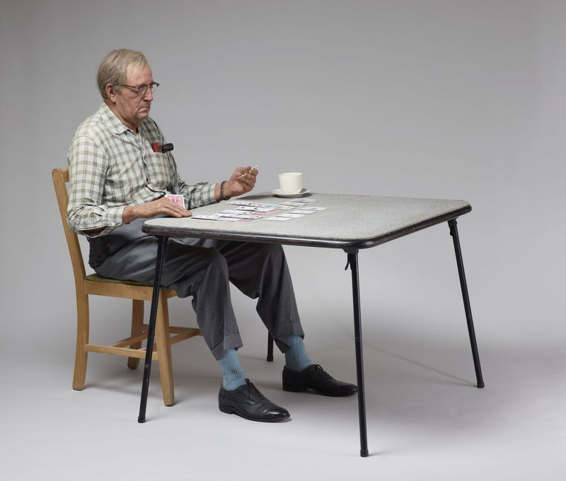 """Duane Hanson's """"Old Man Playing Solitaire,"""" 1973."""