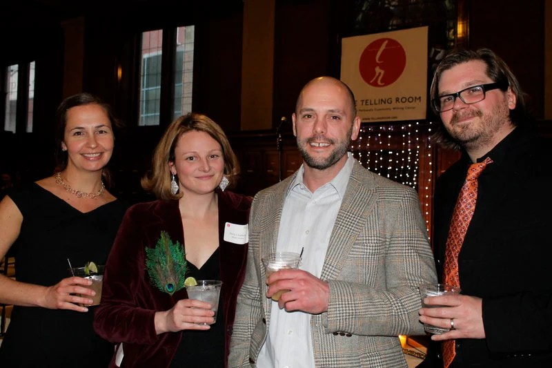 Lisa Prosienski of Portland with guest author Jessica Anthony, fiction writer Ron Currie and Jonathan Wyman, a Portland-based music producer, at Thursday's Glitterati fundraiser for the Telling Room.