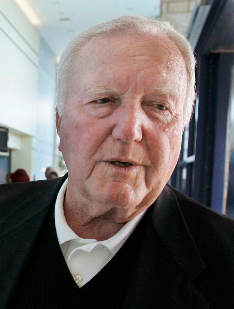 In this April 10, 2007, file photo, former New England Patriots head coach Chuck Fairbanks talks about former player Darryl Stingley before entering Stingley's funeral service at The Living Word Christian Center in Forest Park, Ill. Fairbanks, who coached Heisman Trophy winner Steve Owens at Oklahoma and spent six seasons as coach of the New England Patriots, died Tuesday, April 2, 2013, in Scottsdale, Ariz., after battling brain cancer, the University of Oklahoma said in a news release. He was 79. (AP Photo/Charles Rex Arbogast, File) NFL