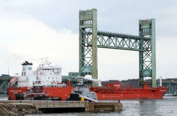 A tanker struck and damaged the Sarah Mildred Long Bridge on April 1, 2014. The 76-year-old bridge, which connects Portsmouth to Kittery, Maine via the U.S. Route 1 Bypass, malfunctioned at about 11 a.m. Sunday. It is now closed to vehicles.