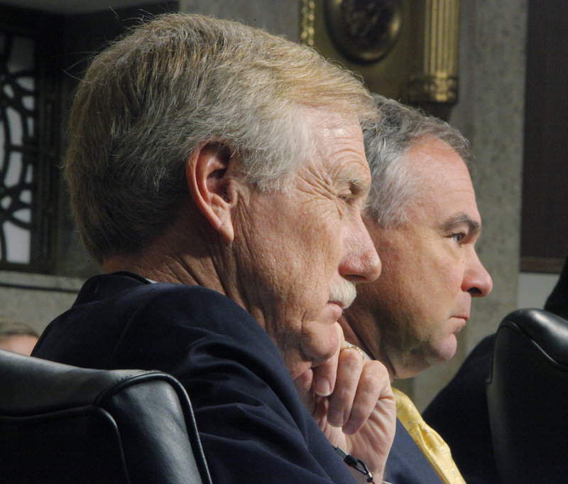During a hearing of the Senate Armed Services Committee on Thursday, Sen. Angus King, I-Maine, and Sen. Tim Kaine, D-Va., listen as Gen. Philip M. Breedlove answers questions as part of his confirmation process. The freshman senators bonded quickly after arriving in Washington. Both are former governors and they serve on two committees together. Breedlove is nominated for the post of commander, United States European Command, and supreme allied commander, Europe.