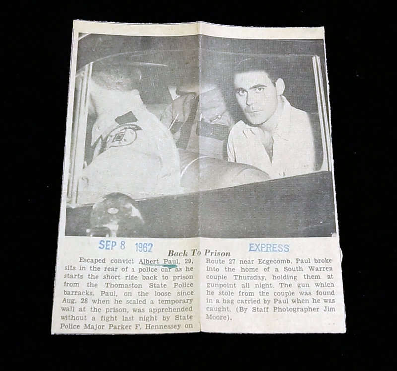 This newspaper clipping from Sept. 8, 1962, details the reapprehension of Maine State Prison inmate Albert Paul, who managed to escape several times – sometimes quite dramatically – during his lifetime of incarceration.