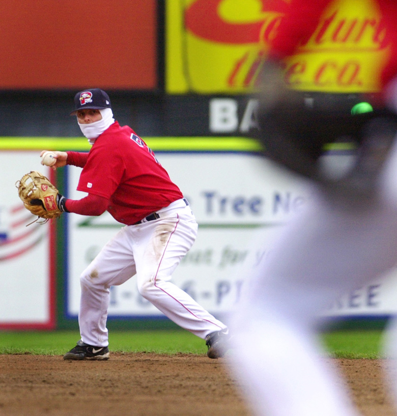 Staff Photo by Jill Brady, Sunday, May 22, 2005: Sea Dogs second baseman, #7, Dustin Pedroia, makes a throw to first base for an out during the third inning of Sunday's game at Hadlock Field against the Bowie Baysox. Jill Brady Baseball