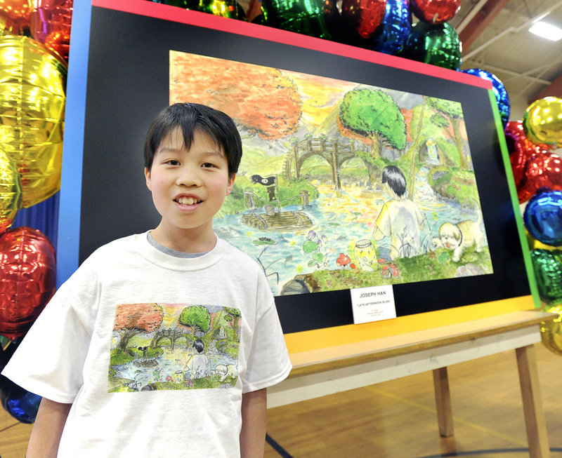 "14-year-old Joey Han, an eighth-grade student at Falmouth Middle School, was honored as a finalist in a national contest to create the best ""Doodle for Google"" in Maine. Photographed on Wednesday, May 1, 2013."