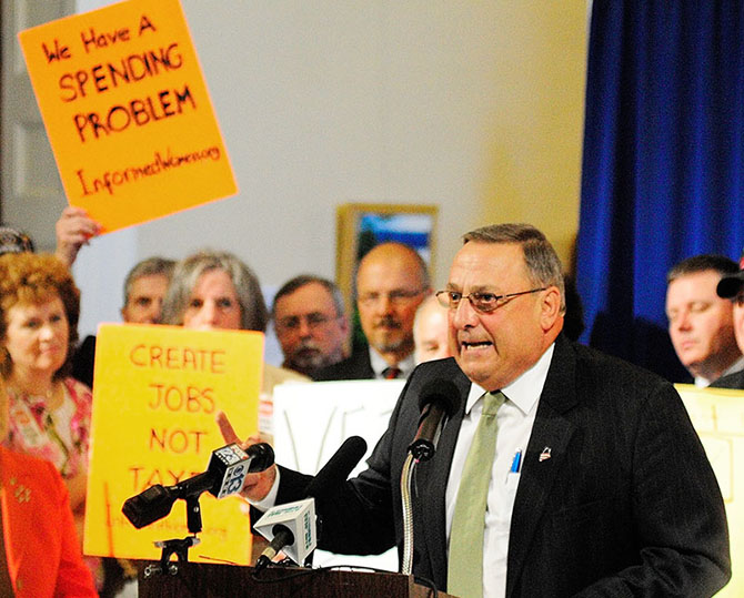 Gov. Paul LePage speaks during a rally on Thursday June 20, 2013 in the Hall of Flags at the State House in Augusta.