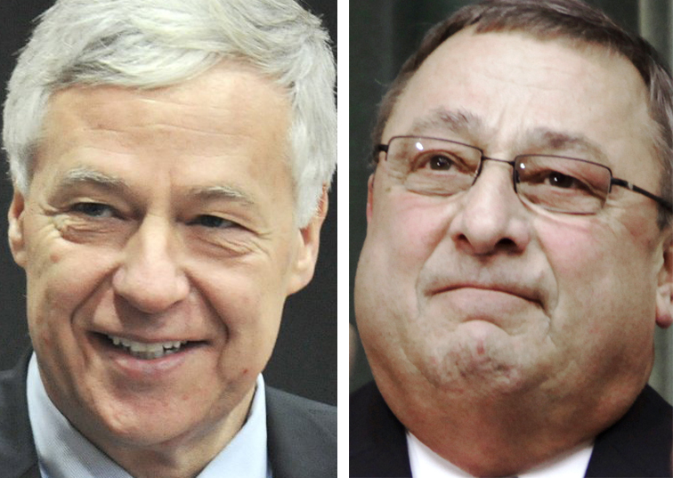 Democratic U.S. Rep. Mike Michaud, left, and Republican Gov. Paul LePage.