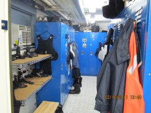 The locker room in the curret police station where equipment doesn't all fit in the lockers. COURTESY OF BRUNSWICK POLICE DEPARTMENT