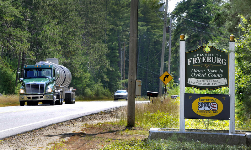 A Poland Spring truck heads south on Route 302. Fryeburg's quality water is the result of quartz-rich geology and clean runoff.