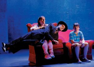 """FROM LEFT, Julia Murney, David Hyde Pierce and Frankie Seratch in a scene from """"The Landing,"""