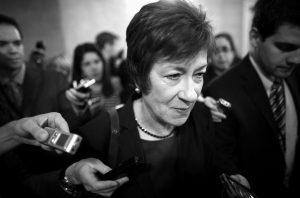 U.S. SEN. SUSAN COLLINS, R-Maine, is followed by reporters as she leaves a meeting of Senate Republicans regarding the government shutdown and debt ceiling on Capitol Hill in Washington Oct. 12.