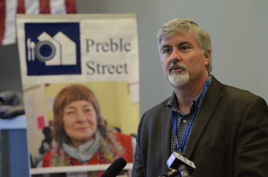 "Mark Swann, executive director of Preble Street, says that for his social service agency, the opioid crisis ""is as real and as tragic as it comes."" Preble Street staff members have become de facto first responders who try to revive clients who overdose."
