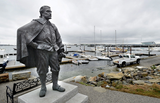 """City officials initially rejected this statue of George Cleeve, now on the waterfront, because of rumors he had owned a """"colored servant."""""""