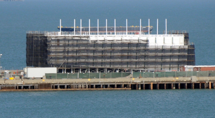 Like a structure in Portland Harbor, the building on a barge in San Francisco Bay is likely a Google floating data center, experts say.