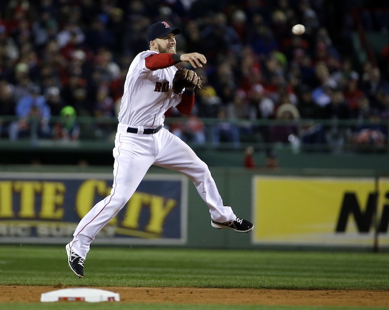 Boston Red Sox's Stephen Drew throws out St. Louis Cardinals' Daniel Descalso during the fifth inning of Game 2 of baseball's World Series Thursday, Oct. 24, 2013, in Boston. (AP Photo/Matt Slocum) MLB
