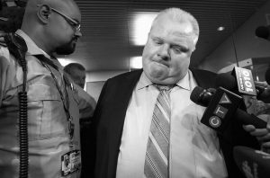 TORONTO MAYOR ROB FORD makes a statement to the media outside his office after the release of a video on Thursday.
